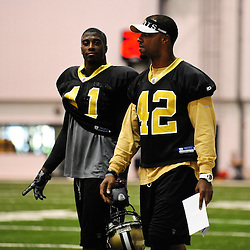 July 30, 2010; Metairie, LA, USA; New Orleans Saints safety Roman Harper (41) and safety Darren Sharper (42) talk during a training camp practice at the New Orleans Saints indoor practice facility. Mandatory Credit: Derick E. Hingle