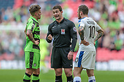 Anthony Backhouse (Referee) talks to the Forest Green Rovers and Tranmere Rovers players during the Vanarama National League Play Off Final match between Tranmere Rovers and Forest Green Rovers at Wembley Stadium, London, England on 14 May 2017. Photo by Mark P Doherty.