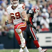 Kansas City Chiefs defense end #69 Jared Allen reacts after sacking Buffalo Bills quarterback JP Losman in the third quarter at Ralph Wilson Stadium. The Buffalo Bills beat the Kansas City Chiefs 14-3.