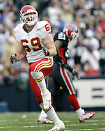 Kansas City Chiefs defense end #69 Jared Allen reacts after sacking Buffalo Bills quarterback JP Losman in the third quarter at Ralph Wilson Stadium. The Buffalo Bills beat the Kansas City Chiefs 14-3.