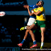 Samoa beat Brazil 26-19 in the Bowl Quarter Final of the 2015 USA Sevens leg of the HSBC Sevens World Series (Round 5) at Sam Boyd Stadium in Las Vegas, Nevada. Saturday February 14, 2015.<br /> <br /> COPYRIGHT &copy; JACK MEGAW, 2015. <br /> <br /> www.jackmegaw.com