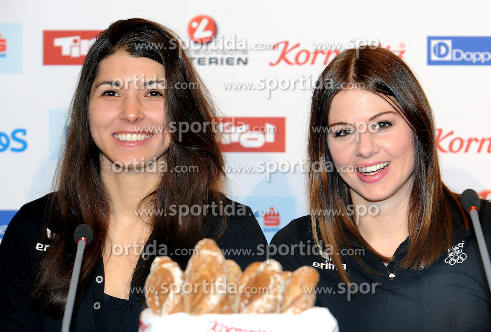 14.02.2014, Austria Tirol House, Krasnaya Polyana, RUS, Sochi, 2014, im Bild MARIA RAMBERGER, SUANNE MOLL // MARIA RAMBERGER, SUANNE MOLL during the Olympic Winter Games Sochi 2014 at the Austria Tirol House in Krasnaya Polyana, Russia on 2014/02/14. EXPA Pictures © 2014, PhotoCredit: EXPA/ Erich Spiess