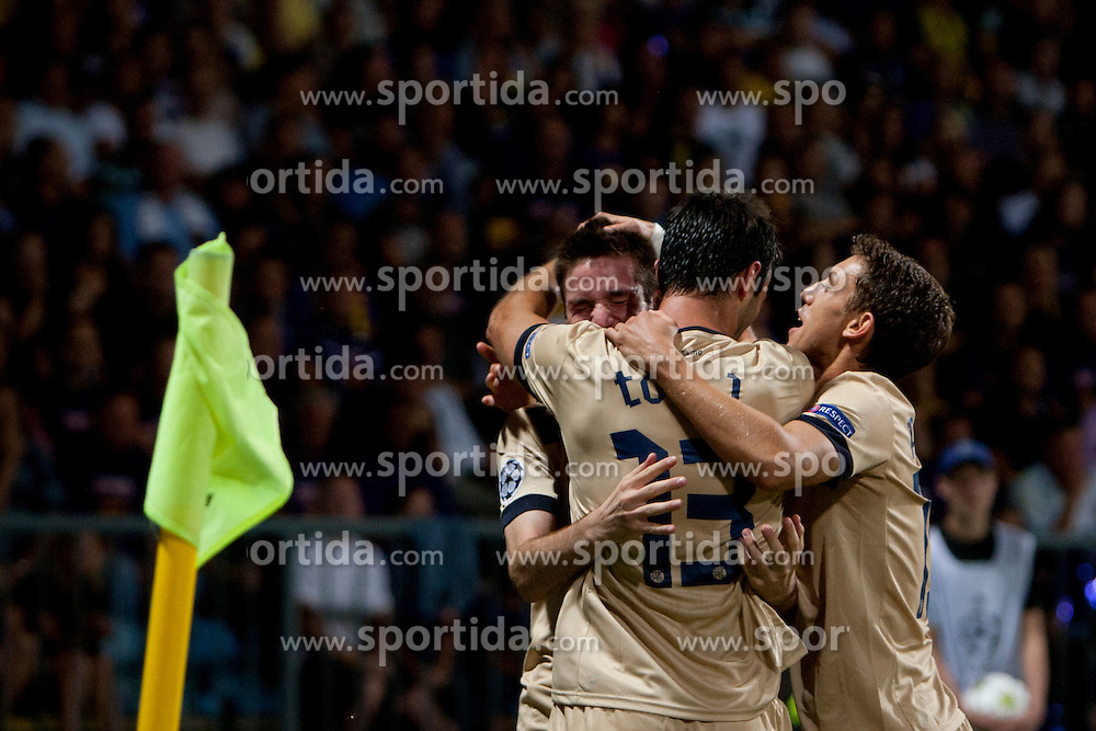 Team DinamoZagreb celebrate during Play-offs for Champions League between NK Maribor (Slovenia) and GNK Dinamo Zagreb (Croatia), on August 28, 2012, in Maribor, Slovenia. (Photo by Urban Urbanc / Sportida.com)