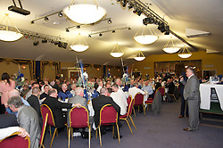 LIVERPOOL, ENGLAND - Friday, May 7, 2010: Ronnie Goodlass gives a speech during an Everton Charity Dinner to support Health Through Sport. (Pic by: David Rawcliffe/Propaganda)