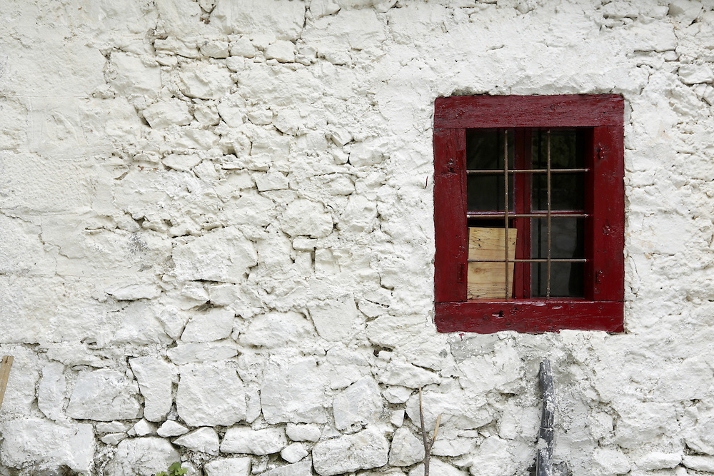 Exterior detail on a house in the Theth valley, Albania.