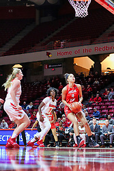 NORMAL, IL - December 04: Arielle Gonzalez-Varner underneath with Lexy Koudelka and Te Te Maggett during a college women's basketball game between the ISU Redbirds  and the Austin Peay Governors on December 04 2018 at Redbird Arena in Normal, IL. (Photo by Alan Look)