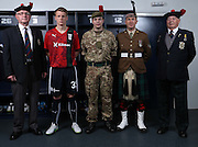 Dundee's Calvin Colquhoun models the new Dundee commemorative kit - The Dee will wear this kit against Ross County on Saturday 26th September to commemorate the centenary of the Battle of Loos. The kit includes the Regimental badge and tartan of the Black Watch<br /> <br /> Dundee are offering free tickets for the match to current and former members of the Armed Forces.<br /> <br /> &copy; David Young<br /> davidyoungphoto@gmail.com<br /> www.davidyoungphoto.co.uk