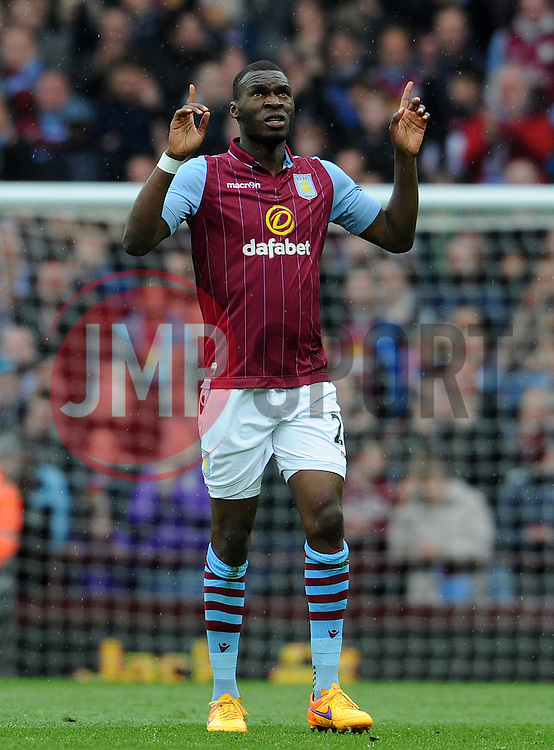 Aston Villa's Christian Benteke scores his sides goal- Photo mandatory by-line: Harry Trump/JMP - Mobile: 07966 386802 - 29/04/15 - SPORT - FOOTBALL - Birmingham - Villa Park - Aston Villa v Everton - Barclays Premier League