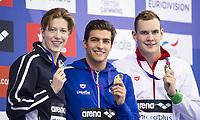 BILDET INNGÅR IKEK I FASTAVTALER. ALL NEDLASTING BLIR FAKTURERT.<br /> <br /> Svømming<br /> Foto: imago/Digitalsport<br /> NORWAY ONLY<br /> <br /> DETTI Gabriele ITA gold medal, CHRISTIANSEN Henrik NOR silver medal, BERNEK Peter HUN bronze medal London, Queen Elizabeth II Olympic Park Pool LEN 2016 European Aquatics Elite Championships EM Swimming Men s 400m freestyle final Day 08 16-05-2016 EM