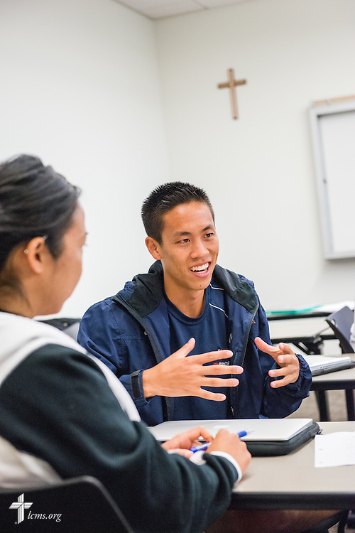 Jordan Cheng and Jennifer Eng participate in a classroom discussion at Concordia University Irvine on Wednesday, July 9, 2014, in Irvine, Calif. LCMS Communications/Erik M. Lunsford