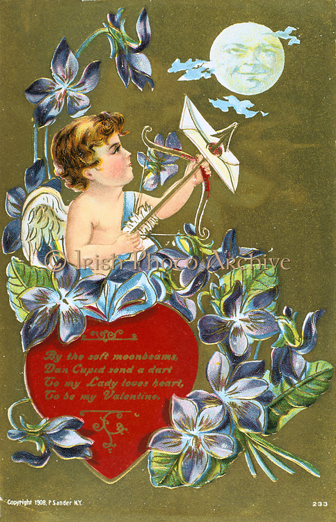Cupid shooting an arrow carrying a love letter, 1908. American Valentine  card.   He stands by a red heart inscribed with a message and surrounded  by Sweet Violet (Viola odorata) which, in the language of flowers, represents Modesty. In Roman mythology Cupid was the son of Venus, goddess of love (Eros and Aphrodite in the Greek Pantheon).  The identity of St Valentine is uncertain, the most popular candidates are Valentine, bishop of Terni (3rd century) or a Roman Christian convert martyred c270).  St Valentine's Day, celebrated on 14 February, probably replaces the Roman pagan festival of Lupercalia.