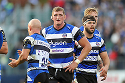 Bath Rugby captain Stuart Hooper - Photo mandatory by-line: Patrick Khachfe/JMP - Mobile: 07966 386802 25/10/2014 - SPORT - RUGBY UNION - Bath - The Recreation Ground - Bath Rugby v Toulouse - European Rugby Champions Cup