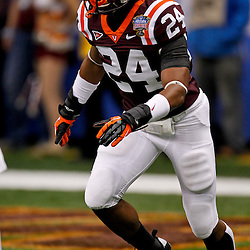 January 3, 2012; New Orleans, LA, USA; Virginia Tech Hokies linebacker Tariq Edwards (24) against the Michigan Wolverines prior to kickoff of the Sugar Bowl at the Mercedes-Benz Superdome.  Mandatory Credit: Derick E. Hingle-US PRESSWIRE