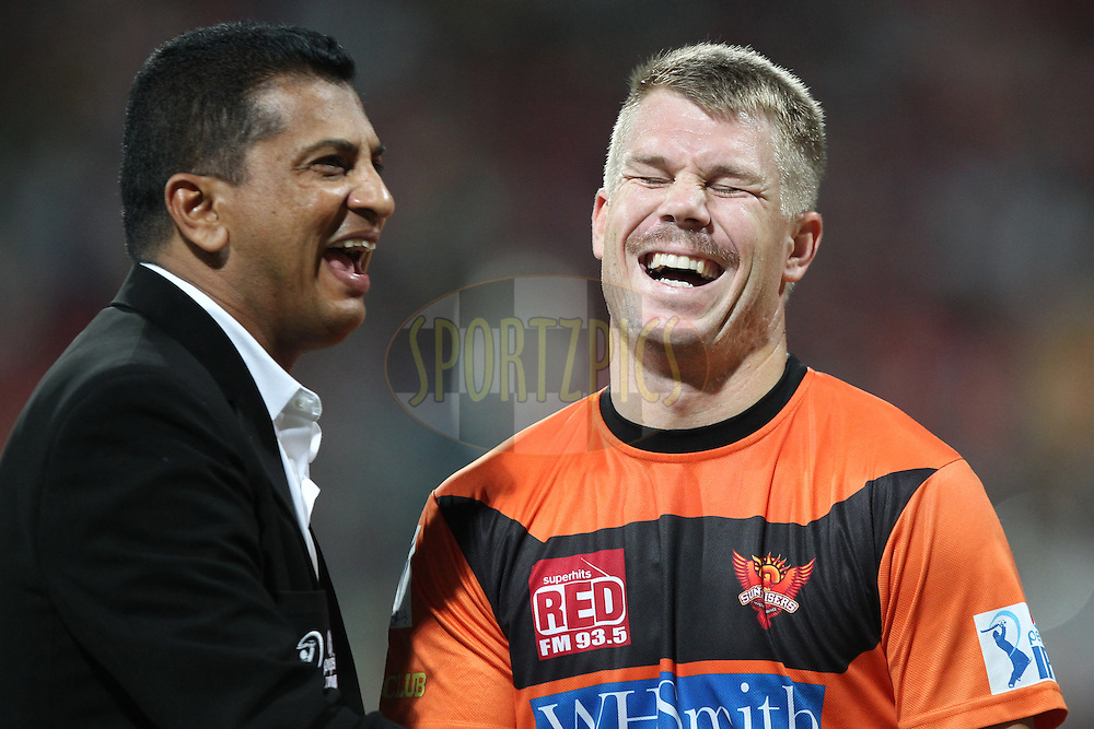 Roshan Mahanama and David Warner of the Sunrisers Hyderabad before start of match 24 of the Pepsi Indian Premier League Season 2014 between the Royal Challengers Bangalore and the Sunrisers Hyderabad held at the M. Chinnaswamy Stadium, Bangalore, India on the 4th May  2014Photo by Prashant Bhoot / IPL / SPORTZPICSImage use subject to terms and conditions which can be found here:  http://sportzpics.photoshelter.com/gallery/Pepsi-IPL-Image-terms-and-conditions/G00004VW1IVJ.gB0/C0000TScjhBM6ikg
