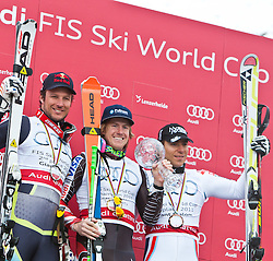 18.03.2011, Pista Silvano Beltrametti, Lenzerheide, SUI, FIS Ski Worldcup, Finale, Lenzerheide, Podium, im Bild Aksel Lund Svindal (NOR), Ted Ligety (USA), Cyprien Richard (FRA) // during Overall Podium, at Pista Silvano Beltrametti, in Lenzerheide, Switzerland, 18/03/2011, EXPA Pictures © 2011, PhotoCredit: EXPA/ J. Feichter