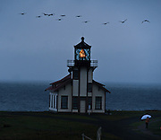 The Point Cabrillo Lighthouse complex is located about 1.5 miles (2.4 km) from Fort Bragg, California, and includes the lighthouse itself together with several outbuildings. Atop the lighthouse spins a third order Fresnel lens with four panels containing 90 lead glass prisms and weighing 6800 pounds, constructed by Chance Brothers, an English company, and shipped to Point Cabrillo around Cape Horn. The light is only 32 feet (9.8 m) above the ground, but because of the height of the headlands it stands 81 feet (25 m) above sea level.