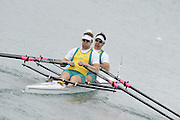 Munich, GERMANY.  AUS M2X. Bow Jared BIDWELL and Danjels REEDMAN.  2010 FISA World Cup. Olympic Rowing Course, Munich.  Friday  18/06/2010   [Mandatory Credit Peter Spurrier/ Intersport Images]