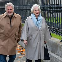 Riverdance Composer Bill Whelan and his wife arrives at the funeral of musician and composer Mícheál Ó Súilleabháin at St Senans Church Kilrush