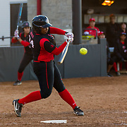 02 March 2018: San Diego State softball hosts Minnesota on day two of the San Diego Classic I at Aztec Softball Stadium. San Diego State Iesha Hill (24) hits a out single in the bottom of the fourth inning against Minnesota. The Aztecs beat the #21/20 Gophers 6-2.<br /> More game action at sdsuaztecphotos.com