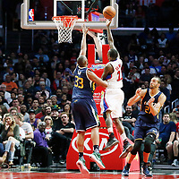 25 March 2016: LA Clippers guard Jamal Crawford (11) goes for the layup past Utah Jazz center Boris Diaw (33) during the Los Angeles Clippers 108-95 victory over the Utah Jazz, at the Staples Center, Los Angeles, California, USA.
