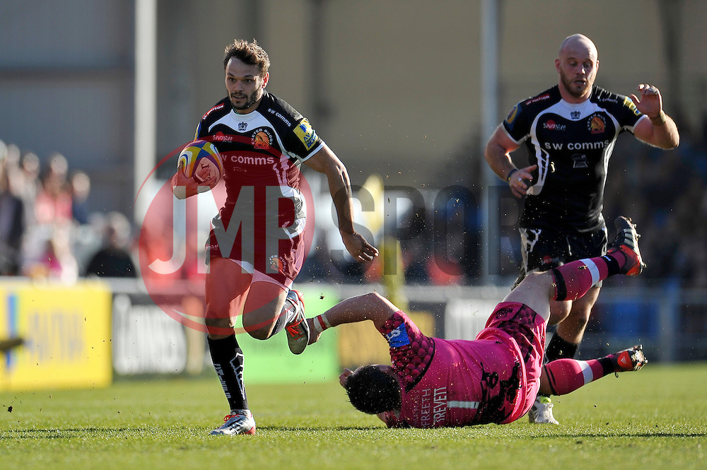 Phil Dollman of Exeter Chiefs gets past Nathan Trevett of London Welsh - Photo mandatory by-line: Patrick Khachfe/JMP - Mobile: 07966 386802 07/03/2015 - SPORT - RUGBY UNION - Exeter - Sandy Park - Exeter Chiefs v London Welsh - Aviva Premiership