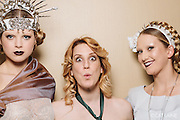 PROVIDENCE, RI - FEB 20: Elizabeth Bennett, Bathany Wood, and Brigid Saoirse pose backstage prior to the Jonathan Joseph Peters show during StyleWeek NorthEast on February 20, 2015 in Providence, Rhode Island. (Photo by Cat Laine)