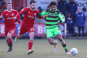 Forest Green Rovers Reuben Reid(26) and Accrington Stanley's Séamus Conneely(28) during the EFL Sky Bet League 2 match between Accrington Stanley and Forest Green Rovers at the Wham Stadium, Accrington, England on 17 March 2018. Picture by Shane Healey.