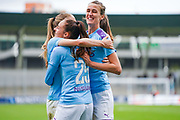 Manchester City Women forward Tessa Wullaert (25) scores a goal and celebrates with team mates to make the score 2-0 during the FA Women's Super League match between Manchester City Women and BIrmingham City Women at the Sport City Academy Stadium, Manchester, United Kingdom on 12 October 2019.