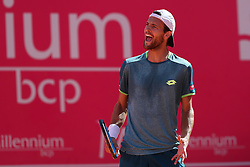 May 4, 2018 - Estoril, Portugal - Joao Sousa of Portugal celebrates a point over Kyle Edmund of Great Britain during the Millennium Estoril Open ATP 250 tennis tournament quarterfinals, at the Clube de Tenis do Estoril in Estoril, Portugal on May 4, 2018. (Credit Image: © Pedro Fiuza via ZUMA Wire)