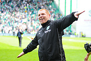 Neil Lennon flying high after the Ladbrokes Scottish Premiership match between Hibernian and Rangers at Easter Road, Edinburgh, Scotland on 13 May 2018. Picture by Kevin Murray.