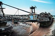 Duitsland, Leipzig, 28-4-2004 De bruinkoolcentrales van Bitterfeld worden gestookt met bruinkool die in een open bruinkoolmijn wordt gewonnen. Foto: Flip Franssen/Hollandse Hoogte