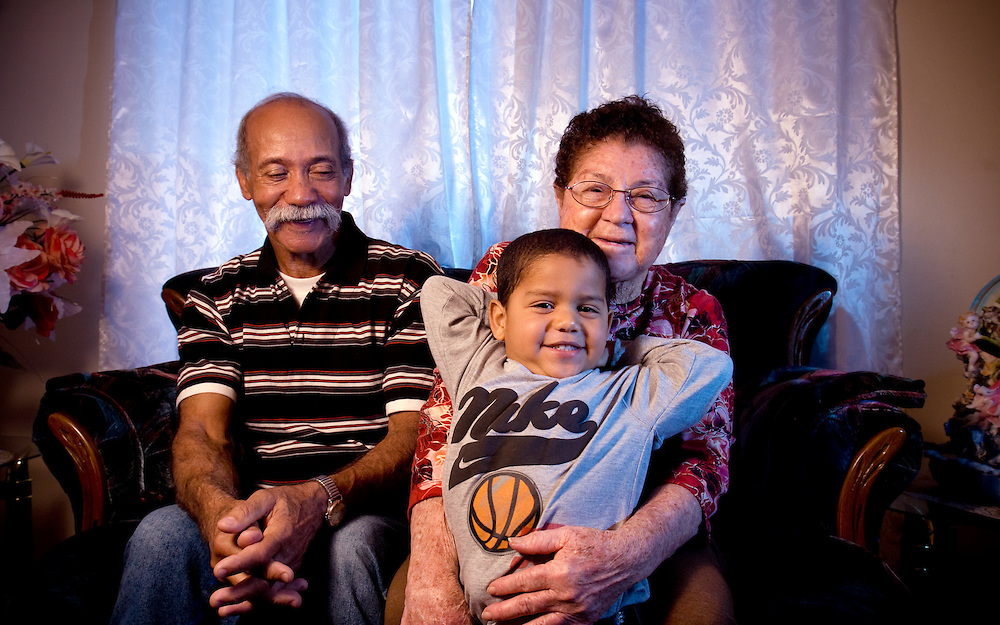 Xavier Mascareñas; Evangelio Rivero, his wife Rosanda Medina and nephew  Leonardo Cherino, are photographed at their home in Albuquerque on Jan. 30, 2009.