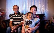 Xavier Mascareñas; Evangelio Rivero, his wife Rosanda Medina and nephew  Leonardo Cherino, are photographed at their home in Albuquerque on Jan. 30, 2009.