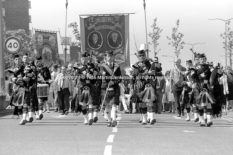 South Kirkby banner, 99th Yorkshire Miners Gala. 1986 Doncaster.