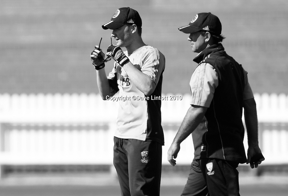 Michael Clarke and Ricky Ponting.<br /> Australian cricket training at Allied Prime Basin Reserve, Wellington. Tuesday, 16 March 2010. Photo: Dave Lintott/PHOTOSPORT
