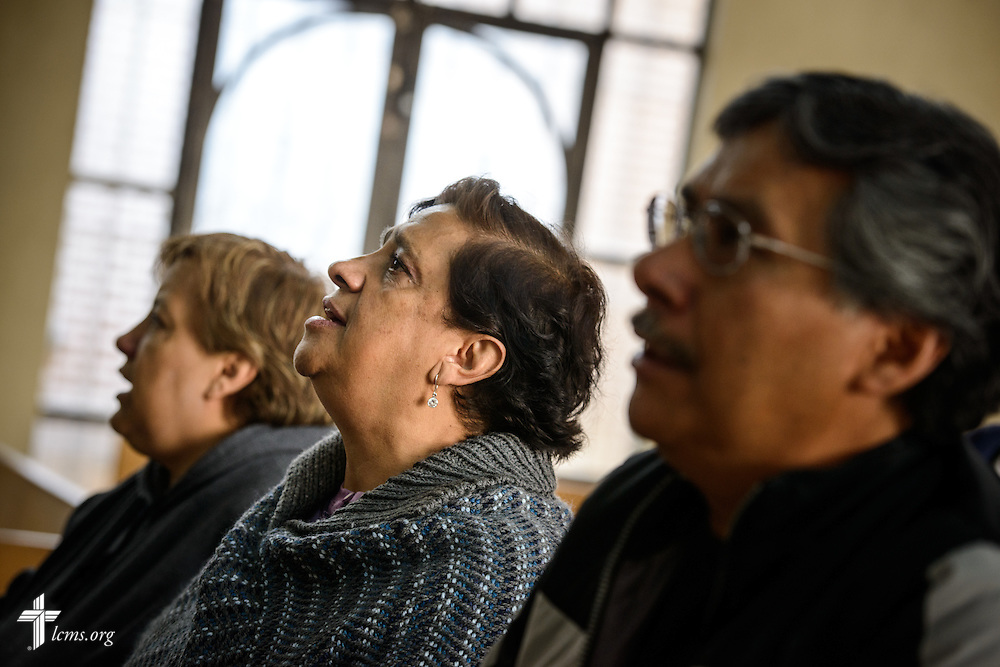 Church members and guests sing during worship at the Lutheran Church of San Pedro on Sunday, Feb. 14, 2016, in Mexico City, Mexico. LCMS Communications/Erik M. Lunsford