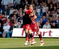 Photo: Leigh Quinnell.<br /> Luton Town v Southampton. Coca Cola Championship. 07/04/2007. Southamptons Marek Saganowski(R) celebrates his goal with team mate Leon Best.