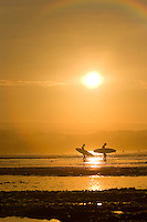 Surfers in Santa Cruz, CA.