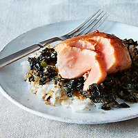 crispy coconut kale roasted salmon
