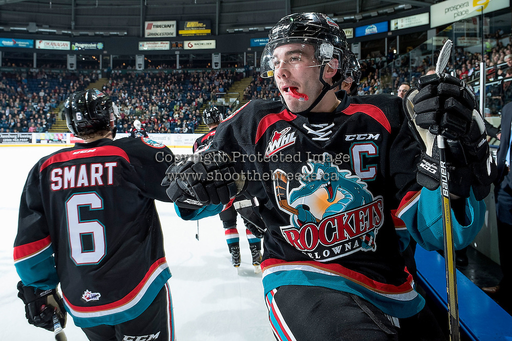KELOWNA, CANADA - NOVEMBER 12: Rodney Southam #17 of the Kelowna Rockets sits on the boards and celebrates a goal with teammates against the Prince Albert Raiders on November 12, 2016 at Prospera Place in Kelowna, British Columbia, Canada.  (Photo by Marissa Baecker/Shoot the Breeze)  *** Local Caption ***