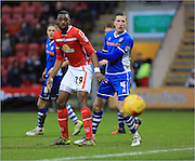Semi Ajayji, Jim McNulty during the Sky Bet League 1 match between Crewe Alexandra and Rochdale at Alexandra Stadium, Crewe, England on 6 February 2016. Photo by Daniel Youngs.