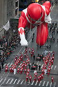 A Power Ranger balloon goes down 6th Avenue for the 89th annual Macy's Thanksgiving Day Parade as seen from above street level on Thursday, Nov. 26, 2015, in New York. (Photo by Ben Hider/Invision/AP)