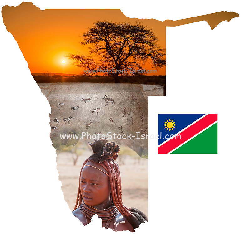Digitally enhanced image of a Map of Namibia collage with local images of wildlife, people, scenery and a flag