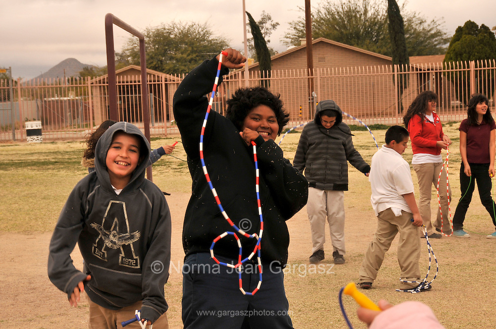 Elvira Elementary School 5th-graders in the Sunnysie Unified School District participate in Jump Rope For Heart, a fundraising and fitness program, during Wellness Week in Tucson, Arizona, USA.