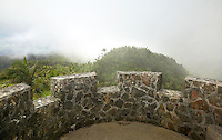 view from atop Mount Briton Tower in El Yunque rainforest with clouds rolling in