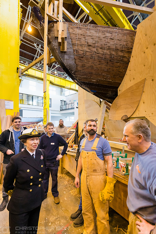 HRH The Princess Royal meets boatbuilding students during her commemorative visit to Boathouse 4 at Portsmouth Historic Dockyard today. The Boathouse opened last year following a &pound;5.7million restoration and features a boatbuilding academy, The Forgotten Craft exhibition, family activities and Midships restaurant.<br /> Picture date: Monday March 20, 2017.<br /> Photograph by Christopher Ison &copy;<br /> 07544044177<br /> chris@christopherison.com<br /> www.christopherison.com