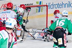 Michal Fikrt (HK Acroni Jesenice, #37) covers a puck during ice-hockey match between HDD Tilia Olimpija and HK Acroni Jesenice in second game of Final at Slovenian National League, on April 3, 2011 at Hala Tivoli, Ljubljana, Slovenia. (Photo By Matic Klansek Velej / Sportida.com)