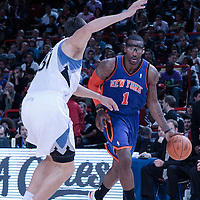 06 October 2010: NNew York Knicks forward Amare Stoudemire #1 drives past Minnesota Timberwolves center Darko Milicic #31 during the Minnesota Timberwolves 106-100 victory over the New York Knicks, during 2010 NBA Europe Live, at the POPB Arena in Paris, France.