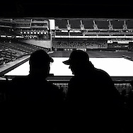 iPhone Instagram of some fans waiting out a rain delay at Target Field in Minneapolis, Minnesota on September 24, 2014