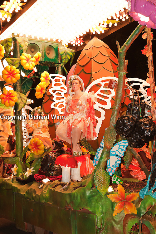 Some of the performers and detail from At the Bottom of the Garden by Pentathlon CC at Glastonbury and Chilkwell Guy Fawkes Carnival, 2010.